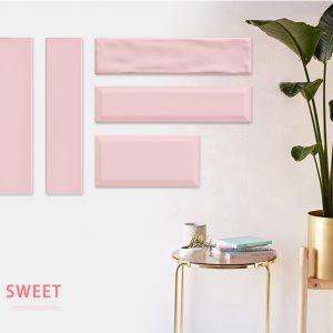 Gạch thẻ trang trí ốp tường 75x300mm màu hồng M75316H